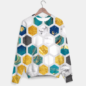Thumbnail image of Blue Marbled Honey Comb Sweater, Live Heroes