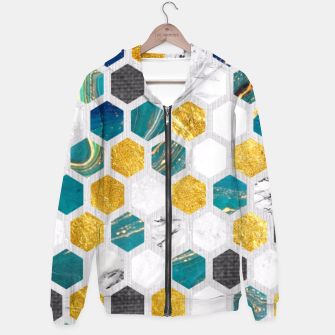 Thumbnail image of Blue Marbled Honey Comb Hoodie, Live Heroes