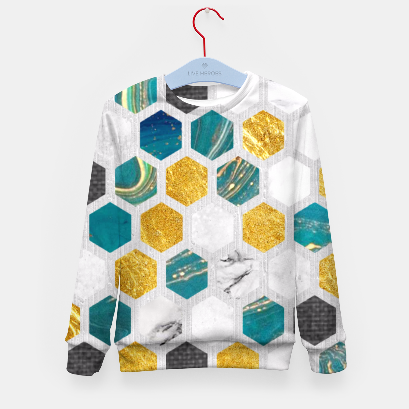 Foto Blue Marbled Honey Comb Kid's Sweater - Live Heroes