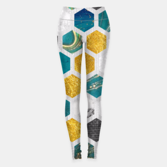 Thumbnail image of Blue Marbled Honey Comb Leggings, Live Heroes