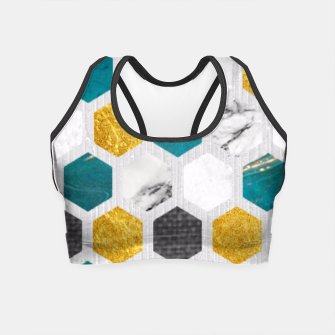 Thumbnail image of Blue Marbled Honey Comb Crop Top, Live Heroes