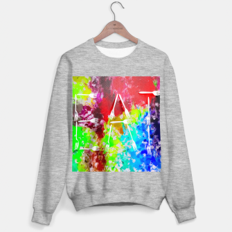EAT alphabet by fork with colorful painting abstract background Sweater regular Bild der Miniatur