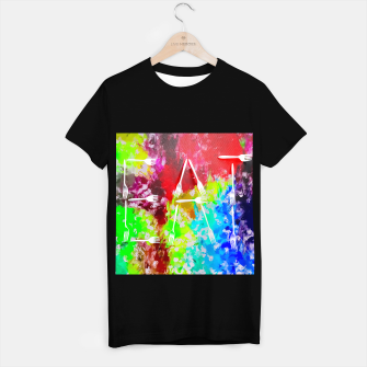 Miniatur EAT alphabet by fork with colorful painting abstract background T-shirt regular, Live Heroes
