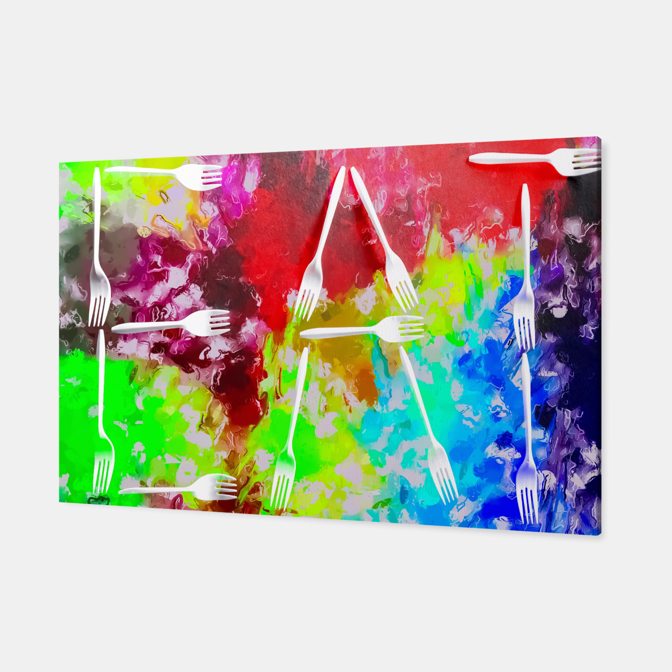 Foto EAT alphabet by fork with colorful painting abstract background Canvas - Live Heroes