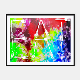 EAT alphabet by fork with colorful painting abstract background Framed poster Bild der Miniatur