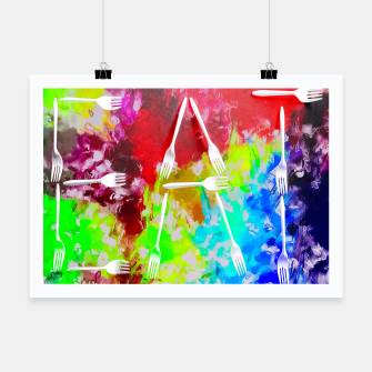 EAT alphabet by fork with colorful painting abstract background Poster Bild der Miniatur