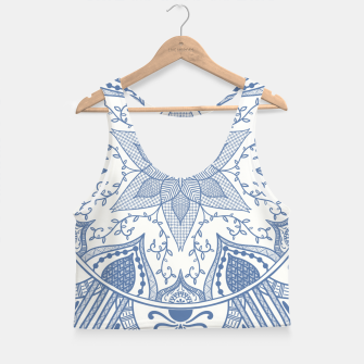 Miniatur Blue and White Pottery Howlsplann Mandala Crop Top, Live Heroes