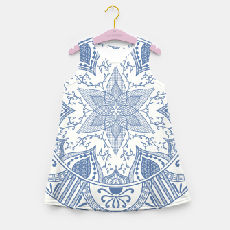Miniatur Blue and White Pottery Howlsplann Mandala Girl's Summer Dress, Live Heroes