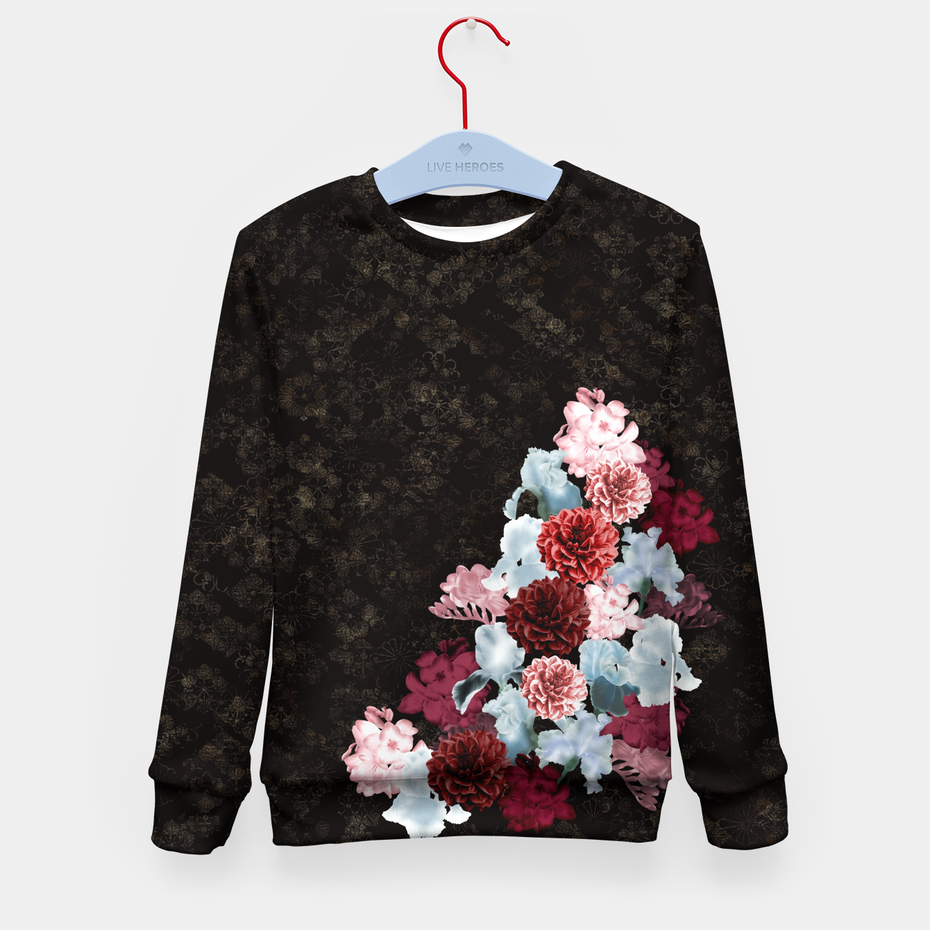 Foto elegant flower gradation with Japanese traditional Kamon decoration like Kimono Kid's Sweater - Live Heroes