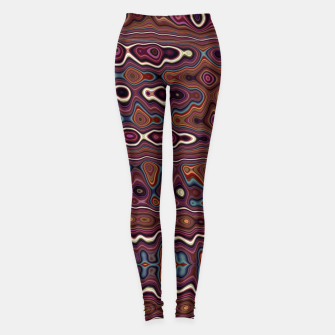 Thumbnail image of Hippy Boho Chestnut Warped Pattern Leggings, Live Heroes