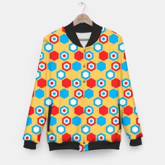 Miniatur Retro Hexagons - Red Yellow Blue Baseball Jacket, Live Heroes
