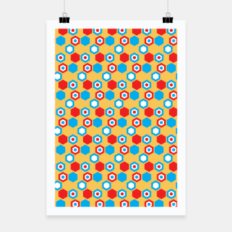 Miniatur Retro Hexagons - Red Yellow Blue Poster, Live Heroes