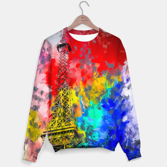 Miniaturka Eiffel Tower at Paris hotel and casino, Las Vegas, USA,with red blue yellow painting abstract background Sweater, Live Heroes