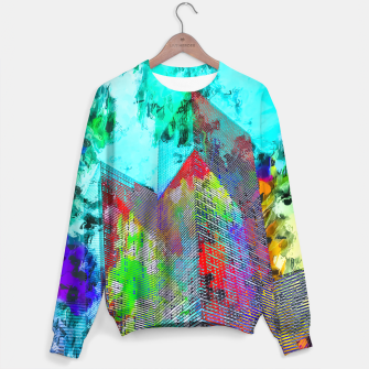 Miniatur modern building at Las Vegas, USA with colorful painting abstract background Sweater, Live Heroes