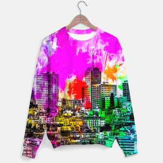 building in the city at San Francisco, USA with colorful painting abstract background Sweater thumbnail image