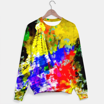 Miniaturka Eiffel Tower, France at night with colorful painting abstract background Sweater, Live Heroes