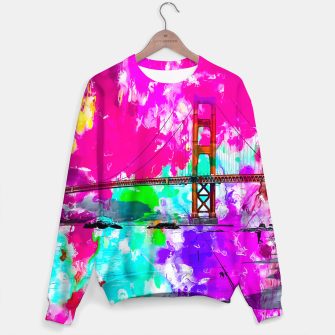 Miniatur Golden Gate bridge, San Francisco, USA with pink blue green purple painting abstract background Sweater, Live Heroes