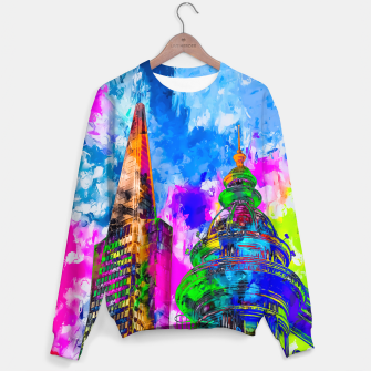 Miniatur pyramid building and classic building exterior at San Francisco, USA with colorful painting abstract background Sweater, Live Heroes