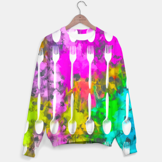 Miniatur fork and spoon pattern with colorful painting abstract background Sweater, Live Heroes