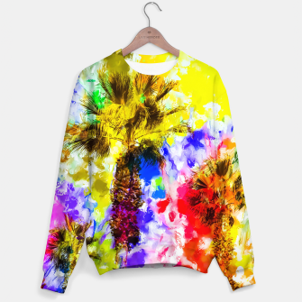 Miniatur palm tree with colorful painting texture abstract background Sweater, Live Heroes