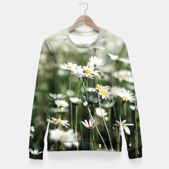 Thumbnail image of White Summer Daisies Flowers Fitted Waist Sweater, Live Heroes