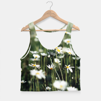 Thumbnail image of White Summer Daisies Flowers Crop Top, Live Heroes