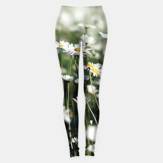 Thumbnail image of White Summer Daisies Flowers Leggings, Live Heroes