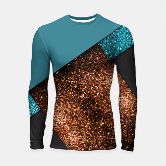 Thumbnail image of Aqua blue and bronze sparkles modern color block Longsleeve Rashguard , Live Heroes