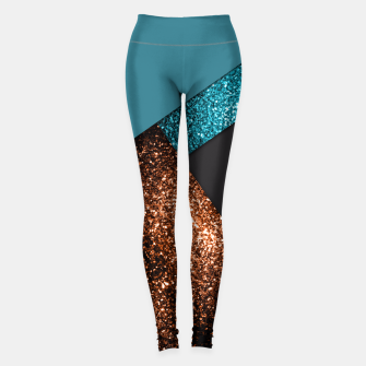 Thumbnail image of Aqua blue and bronze sparkles modern color block Leggings, Live Heroes