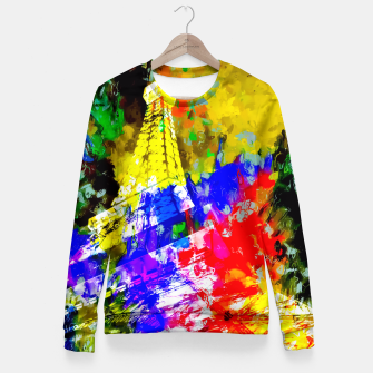Miniaturka Eiffel Tower, France at night with colorful painting abstract background Fitted Waist Sweater, Live Heroes