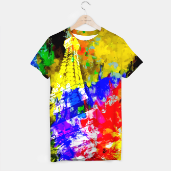 Miniaturka Eiffel Tower, France at night with colorful painting abstract background T-shirt, Live Heroes