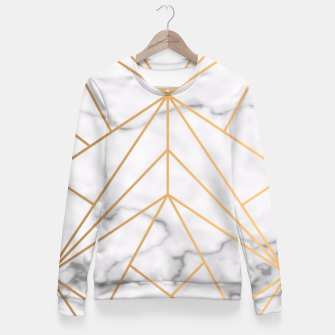 Thumbnail image of Geometric Gold Pattern on Marble Fitted Waist Sweater, Live Heroes