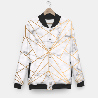 Thumbnail image of Geometric Gold Pattern on Marble Baseball Jacket, Live Heroes