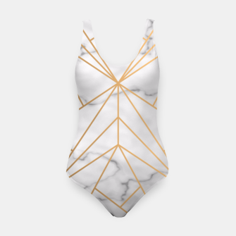 Thumbnail image of Geometric Gold Pattern on Marble Swimsuit, Live Heroes