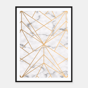 Thumbnail image of Geometric Gold Pattern on Marble Framed poster, Live Heroes