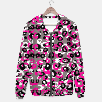 Thumbnail image of Black Gray White and Pink Leopard Hoodie, Live Heroes