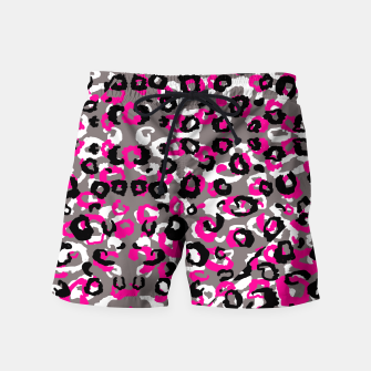 Thumbnail image of Black Gray White and Pink Leopard Swim Shorts, Live Heroes