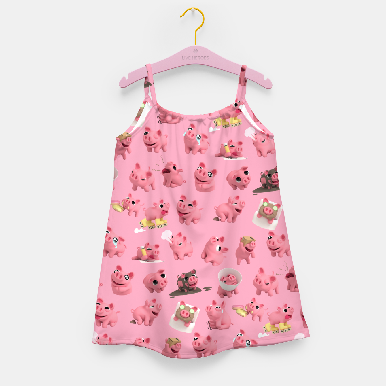 Image of Rosa the Pig Pattern Girl's Dress - Live Heroes