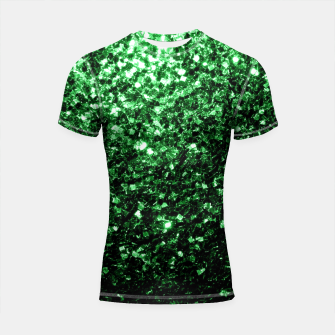 Thumbnail image of Beautiful Glamour Dark Green glitter sparkles Shortsleeve Rashguard, Live Heroes