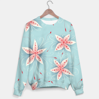 Thumbnail image of Beautiful White Red Flowers Sweater, Live Heroes