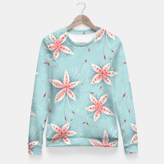Thumbnail image of Beautiful White Red Flowers Fitted Waist Sweater, Live Heroes