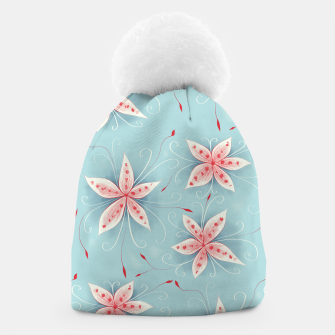 Thumbnail image of Beautiful White Red Flowers Beanie, Live Heroes