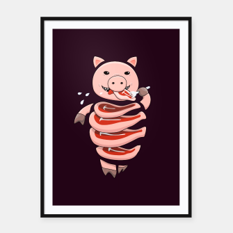 Thumbnail image of Cut In Steaks Self Eating Pig Framed poster, Live Heroes