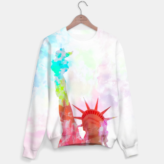 Thumbnail image of Statue of Liberty with colorful painting abstract background in red pink blue yellow Sweater, Live Heroes
