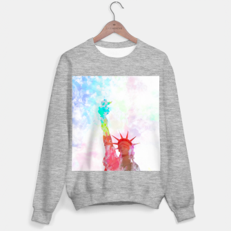 Thumbnail image of Statue of Liberty with colorful painting abstract background in red pink blue yellow Sweater regular, Live Heroes