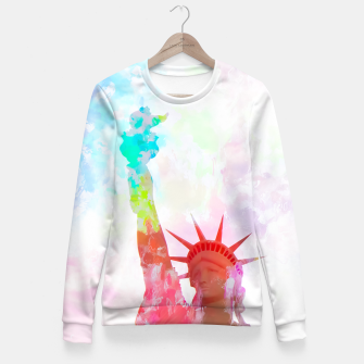 Thumbnail image of Statue of Liberty with colorful painting abstract background in red pink blue yellow Fitted Waist Sweater, Live Heroes