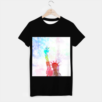 Thumbnail image of Statue of Liberty with colorful painting abstract background in red pink blue yellow T-shirt regular, Live Heroes
