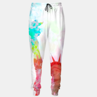 Thumbnail image of Statue of Liberty with colorful painting abstract background in red pink blue yellow Sweatpants, Live Heroes