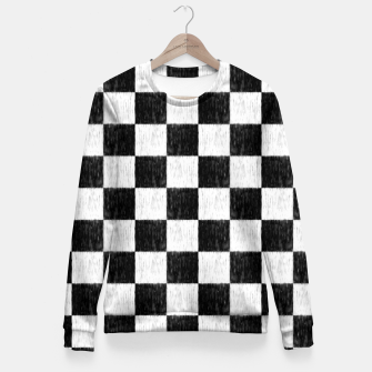 Thumbnail image of my handdrawn chess pattern Fitted Waist Sweater, Live Heroes