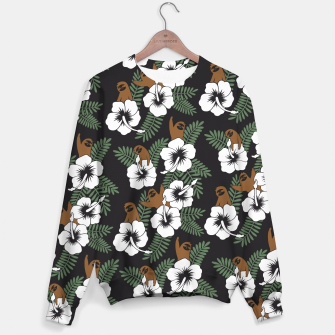 Thumbnail image of Sloth and Hibiscus Flowers Sweater, Live Heroes